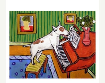 20% off Bull Terrier Playing the Piano Dog Art Print