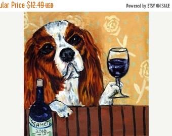 20% off King Charles Cavalier Spaniel at the Wine Bar Dog Art Tile Coaster Gift