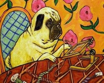 pug art - Pug Doing Needlepoint Dog Art Tile - pug gifts