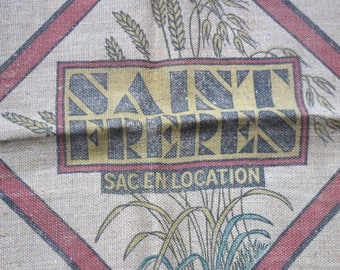 Vintage French burlap sack