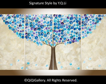 """48"""" Large wall art Colourful art Blue Purple beige Abstract art Painting on canvas wall decor """"Blueberry Tree"""" by qiqigallery"""
