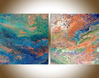 Set of 2 painting Abstract painting wall art wall decor colour art Original artwork copper blue green white fluid art by qiqigallery