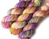 Handdyed Sock Yarn Tight Twist Merino Cashmere Nylon Fingering - Flower Market Confetti, 400 yards