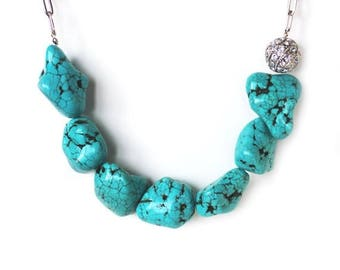 Clearance Sale Turquoise howlite nugget stone earthy statement necklace