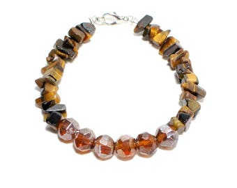 Golden brown glass and tiger eye chip stone beaded stacking bracelet
