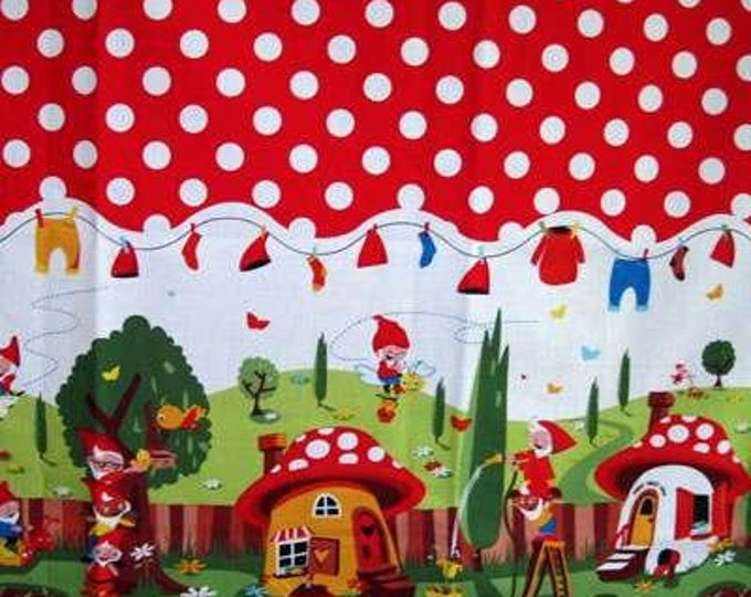 1.86 Yards - Michael Miller GNOMEVILLE Border Red Polka Dot Quilt Fabric - Last Piece