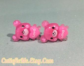 Pink Love Heart Bear Stud Earrings