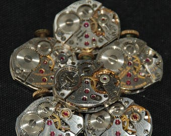 Vintage Watch Movements Parts Steampunk Altered Art Assemblage RB 78