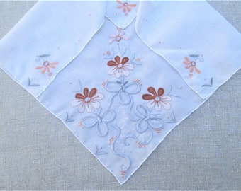 Vintage Madeira Handkerchief Hand Embroidered Flowers Ribbons Bows Applique Embroidery Bridal Gift Wedding Hankie Hanky Vintage Linens Fall