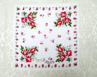Vintage Handkerchief Signed Jean d'orly Paris Printed Hankie Hanky Pink Roses Flowers Vintage Linens Retro Accessories New Tag Unused