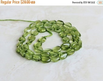 Deep Discount Sale Peridot Gemstone Briolette Smooth Oval Nugget 6.5 to 7.5mm 35 beads