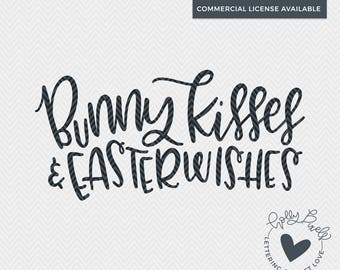 SVG Easter Designs | Bunny Kisses and Easter Wishes | SVG Easter Bunny | Easter SVG | Easter dxf | svg Easter Files | Holly Pixels | Easter