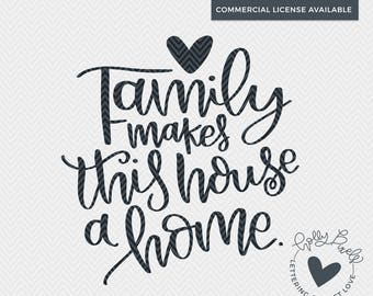 Family Quote SVG | Family SVG | Family Makes this House a Home | Home Decor SVG | Farmhouse Cut File | Family Cut File | Family Quote