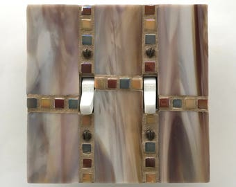 Decorative Switch Plate, Mosaic Switch Cover, Decorative Light Switch Covers, Stained Glass Mosaic, Wall Plate, Switchplate Covers, 8721