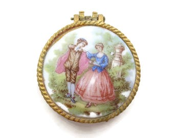 Gold Pillbox -  Porcelain Fragonard Couple Miniature Box
