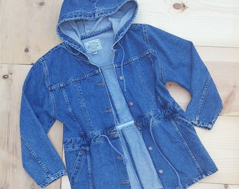 Vintage Denim Jacket  //  Vtg 90s Jordache Stone Wash Denim Hooded Jacket with Drawstring Waist