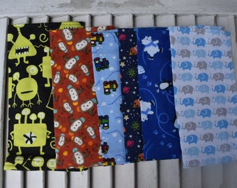 """Set of 6 10"""" Mixed Boys Flannel Cloth Napkins  Lunchbox /Luncheon Set 102"""