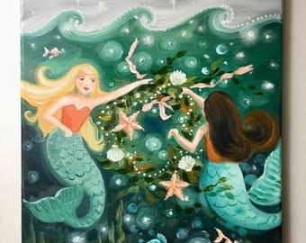 Mermaid Art, Merry Mermaids, Holidays, Merry Christmas, Christmas painting, Christmas art, original christmas painting, custom painting
