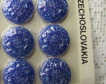 12 Vintage 1970s Czech Glass Buttons Handmade Bluish Purplish Iridescent Glass Czechoslovakia  #49