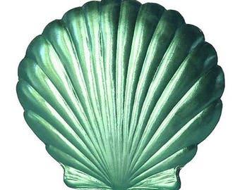 2 Large Dresden Paper Foil Sea Shells Germany Die Cut Aqua Dresdens
