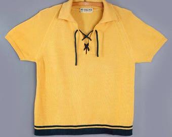 1930's ITALIAN Yellow & Green Knit Top- MEDIUM