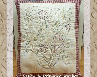 Prim Summer Wreath-Primitive Stitchery E-PATTERN-Instand Download