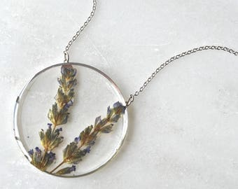 Silver Pressed Lavender Necklace Pressed Flower Jewelry Botanical