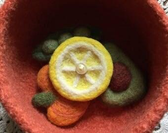 Lemon Felted Wool Brooch/ Boutonnière