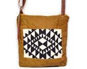 crossbody bucket bag • waxed canvas crossbody bag • black and white triangle geometric print - brown waxed canvas - travel bag