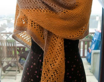 Handknitted Shawl in Beige and Yellow