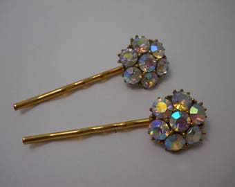 Vintage Up Cycled Hair Pins Sparkly Glass Flower Hair Clips Gold Bobby Pins 1950s Glam Prong Set Bridal Party Repurposed Bobby Pins OOAK