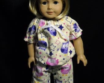 "Yellow with Stars and Owls Pajamas for American Girl 18"" Doll Handmade"