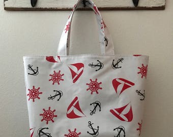 Beth's Large Boats and Anchors Oilcloth Market Tote Bag