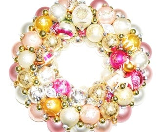 Pink Gold Vintage Glass Ornament Wreath Shiny Brite Indents
