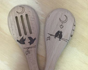 Wooden Spoon Set, Love Birds, Pyrography