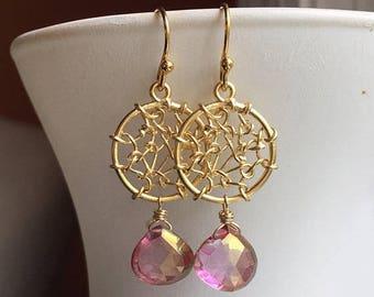 20% off FLASH SALE, Dreamcatcher Earrings in Posy Mystic Quartz, Golden Dreamcatcher Earrings, Gemstone Earrings