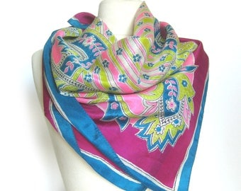 Large Vintage SILK Scarf - Hot Pink, Lime Green, Violet and Blue Scarf in a Floral Motif / Bright Scarf / Vintage Silk Scarf with Rolled Hem