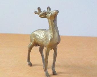 Vintage Brass Deer •  1970s Brass Figurine • Vintage Buck Stag Metal Deer
