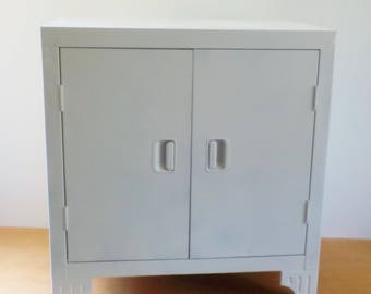 Vintage Metal Cabinet • Cabinet with Legs • White Metal Cupboard