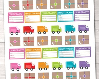 35% OFF SALE Delivery Trucks & Packages Printable Planner Stickers Instant Download Sticker Set PDF for Online Orders Order Tracking