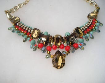 Colorful Rhinestone Crystal Statement Gold tone Necklace