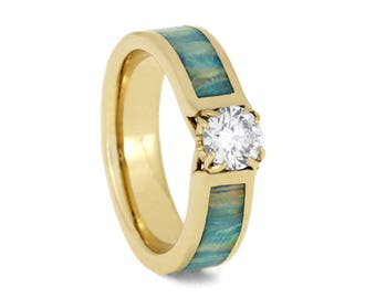 Solitaire Diamond Engagement Ring, Synthetic Opal Ring in 14k Yellow Gold With Deer Antler Prongs