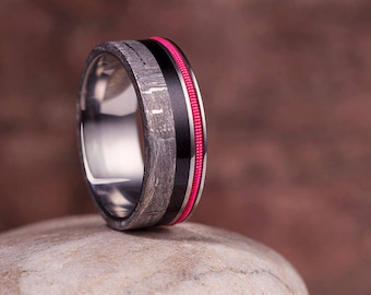 Neon Guitar String Ring, Meteorite Wedding Band Inlaid With Ebony Wood And A Fluorescent Guitar String, Ring For Musicians