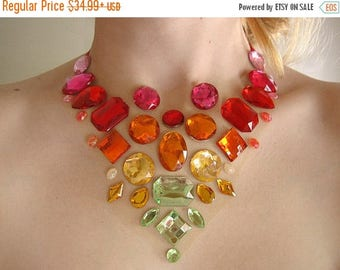 ON SALE Floating Orange and Green Rhinestone Statement Necklace, Rhinestone Illusion Necklace, Floating Rhinestone Necklace, Colorful Statem