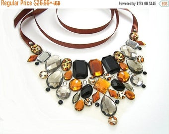 ON SALE Leopard Print Rhinestone Bib Necklace, Leopard Statement Necklace, Brown and Gray Bib Necklace