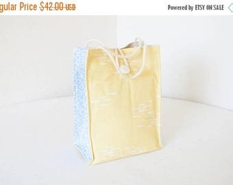 ON SALE Organic Lunch Bag - Yellow and Blue Fish - Organic Cotton, Eco Friendly, Fully Insulated - Back to School Waste Free