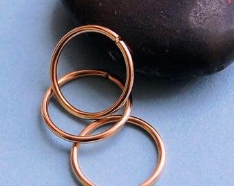 Multiple Piercing Rose Gold Set of 3 Endless Hoop Earrings * Cartilage Tragus Daith Helix * Sleeper Hoop Earrings * Choose Your Size