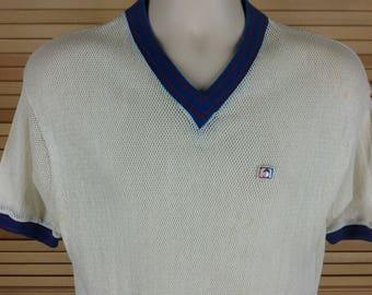 Vintage 70s Arthur Ashe tennis shirt mesh v-neck Catalina Men sport size XL chest 42 relaxed