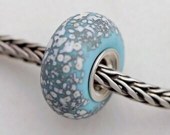 Unique Turquoise Sand Sea Glass Bead -  Artisan Glass Bracelet Bead - (AUG-60)