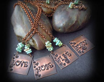 Hand Stamped Copper Necklace - Wire Wrapped Turquoise - Personlized Jewelry - Motivational Words or Names - Rustic Copper Necklace